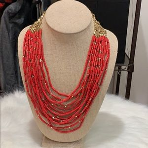 Stella & Dot multi layered coral red necklace